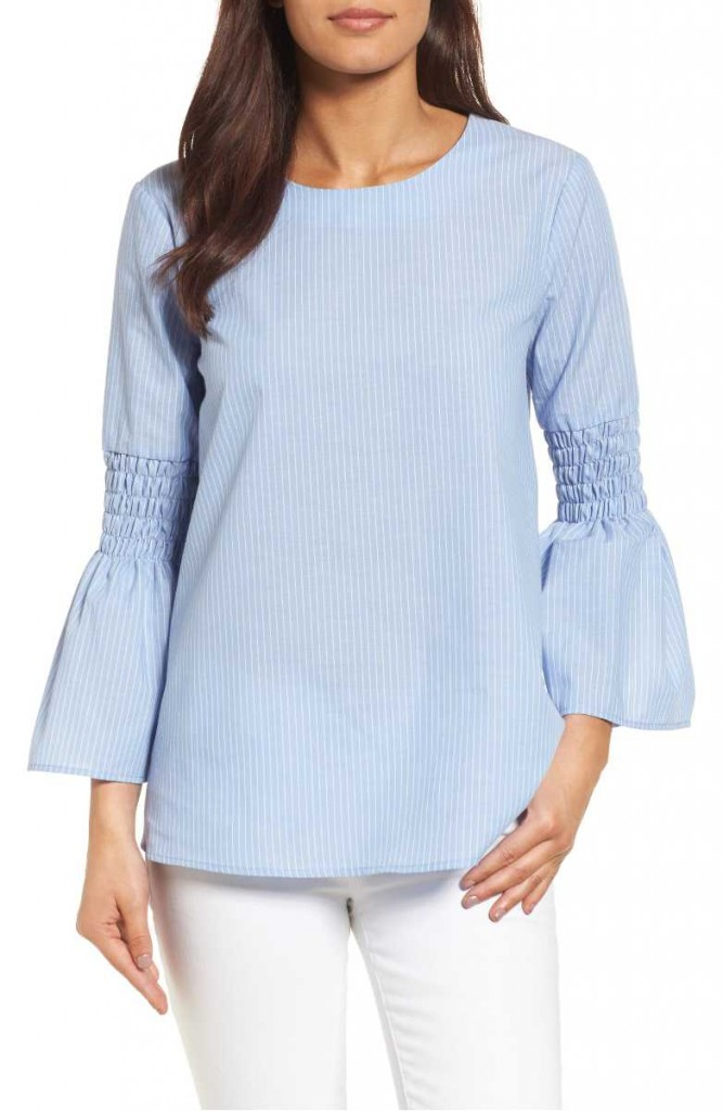 bow back bell sleeve blouse