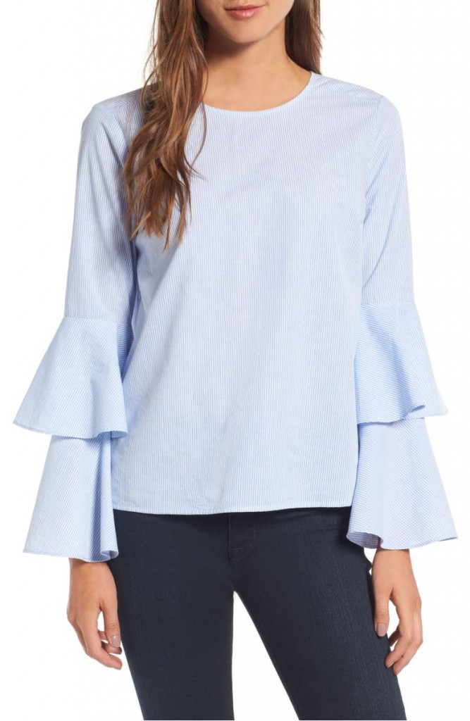 Bell Sleeve Poplin Top