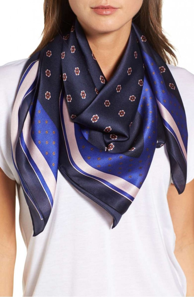Ditsy Square Silk Scarf