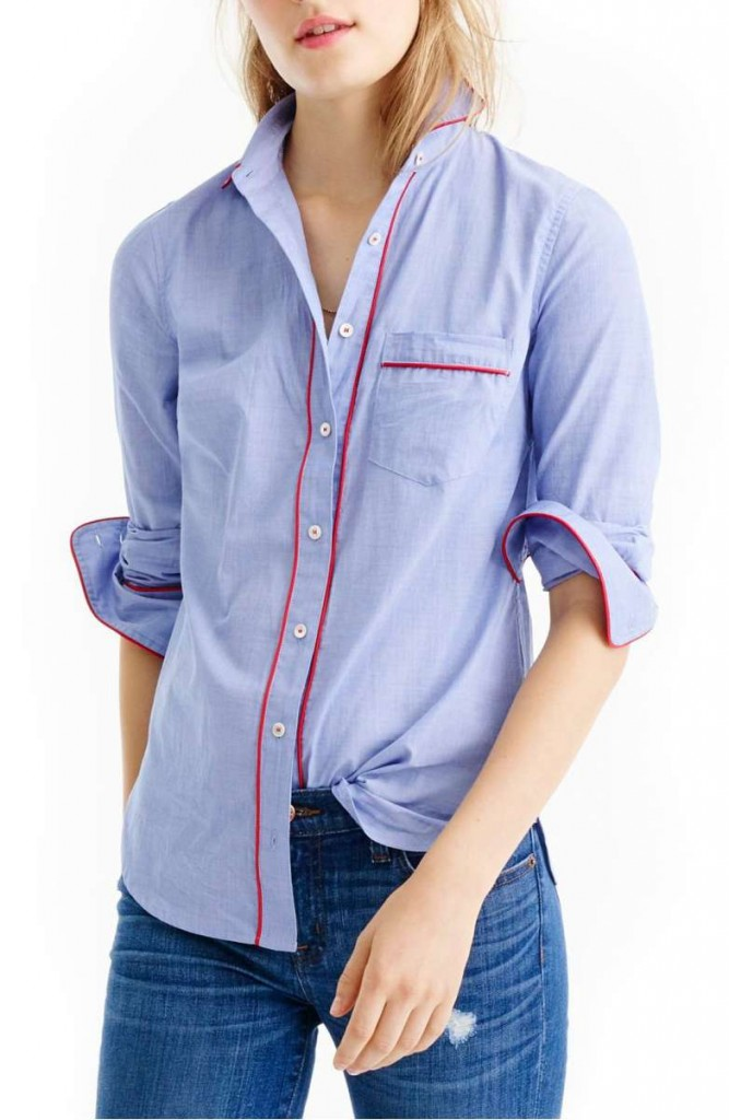 J.Crew Tipped Pajama Shirt