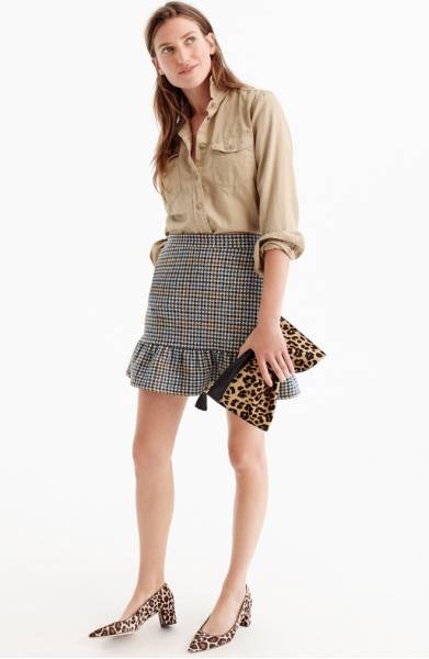 j.crew houndstooth skirt