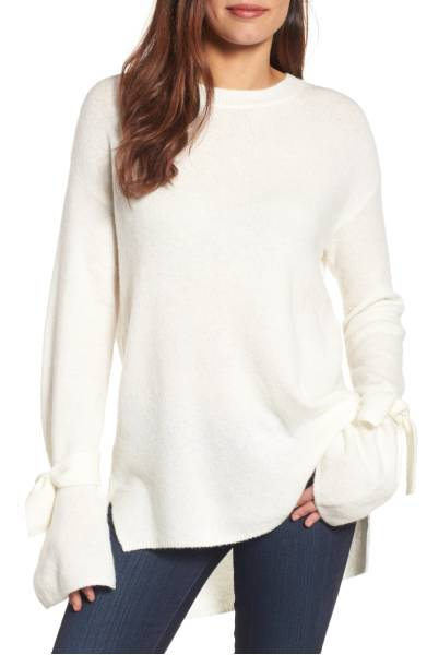 halogen tie sleeve sweater